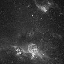 NGC 3576 The Statue of Liberty Nebula & NGC 3572 & NGC 3603 in Carina - H-Alpha,                                Ray Caro
