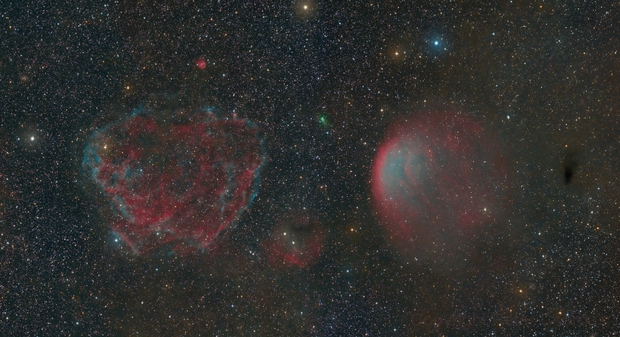 SNR Sh2-221, PN Sh2-216 and C/2017 T2 Panstarrs,                                xordi