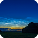 Noctilucent Cloud Panorama over OId Barns on June 19, 2019,                                Alan Dyer