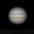 Jupiter 11 Jun 2018 - 6 min derotation - South on top,                                Seb Lukas