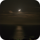 Waxing Crescent Moon Setting over the Pacific Ocean (Aug 4, 2019/135mm),                                JDJ