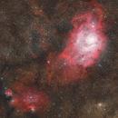 Lagoon and Trifid Nebulas (M8 and M20) and NGC 6559 - HaRGBO3,                                Jesse Priolo