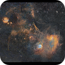 A four panel panoramic mosaic of Auriga, IC 405 & 410 ,                                Metsavainio