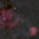 Rosette and Cone Nebulae,                                bbright