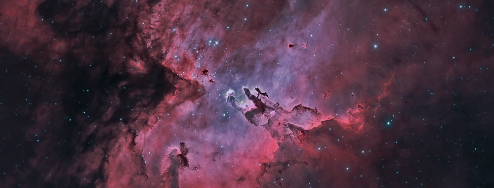 "M 16, the Eagle Nebula with ""The Pillars of Creation"" in Hydrogen and Oxygen light,                    Steve Cooper"