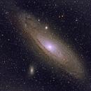 Andromeda galaxy M31/NGC224 including M32/NGC221, M110/NGC205, NGC206 and Nu Andromedae (c),                                Ram Samudrala