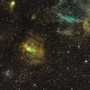 NGC 7635 Bubble Nebula Widefield SHO,                                Tristram