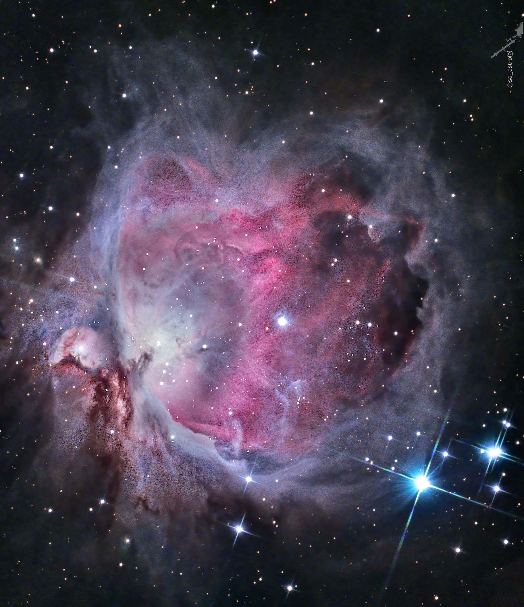 Great Orion Nebula (M42) in 1hr 40min under 97% moon.,                                Todd