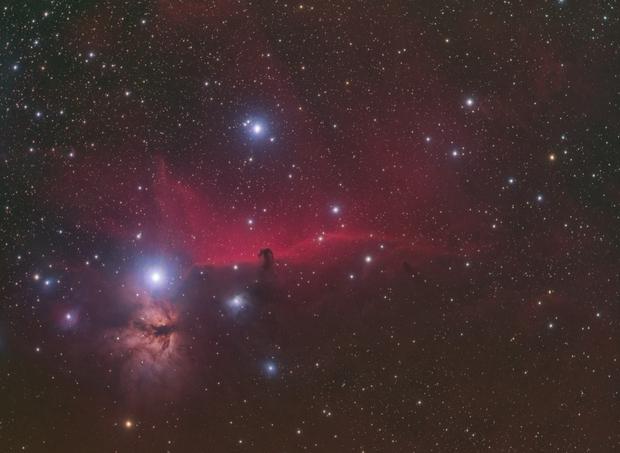 Flame and Horsehead Nebula Wide Field HaRGB,                                mikefulb