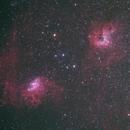 IC 405 (Flaming Star Nebula), IC 417 (Tadpole Nebula), IC 410 (Spider Nebula), M6, M8 -- Nikon D5300 & 200 mm Telephoto lens,                                Nick Large