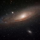 M 31 Andromeda Galaxy, M 110 & M 32.  Also bonus revision of enhanced M 31 core region.,                                Alan Brunelle