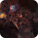Mapped and TrueRGB color composition for 20 panels mosaic of winter nebulae in Aurigae ,                                David Lindemann