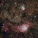 Laguna Nebula M8 / NGC 6523 and Trifid Nebula M20 / NGC 6514,                                deppski