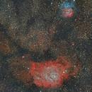 Lagoon Nebula (11°) meets Trifid Nebula (13°),                                Henning Schmidt
