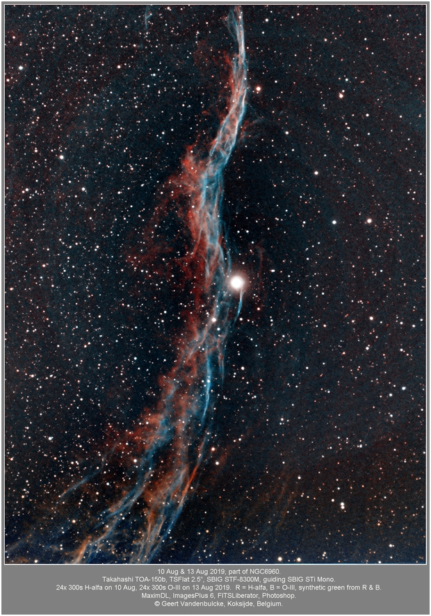 NGC6960, part of the Veil Nebula, bicolor 20190811 (Ha) & 20190813 (O3),                                Geert Vandenbulcke