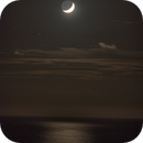 Waxing Crescent Moon Setting over the Pacific Ocean (Aug 4, 2019/210mm),                                JDJ