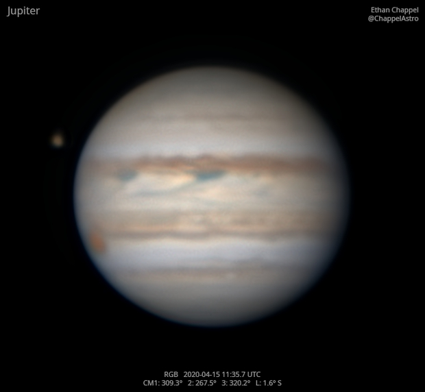 Jupiter with Ganymede Approaching Transit,                                Chappel Astro