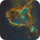 IC1805 (Heart Nebula) mosaic (2x2) in Hubble Palette (SII/Hα/OIII),                                Jose Carballada