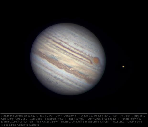 Jupiter and Europa 20 Jun 2019,                                Seb Lukas