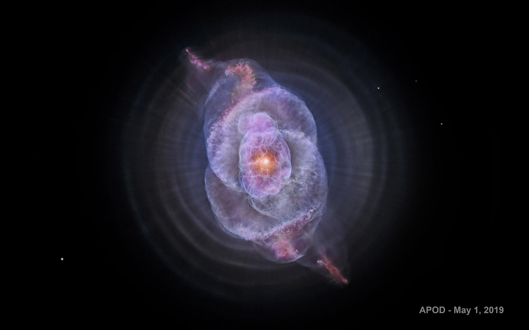 Cat's Eye Nebula, NGC 6543 - Hubble Telescope, NASA                               Rudy Pohl