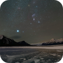 Orion over Abraham Lake Ice Bubbles, Alberta Canada,                                Tesseract