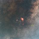 The Lagoon Nebula, Trifid Nebula, M23 w Nova Sagittarii 2015 = PNV J18142514-2554343,                                Seiji Matsuda