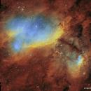 IC4628 (Prawn Nebula) in SHO Hubble palette,                                jheppell