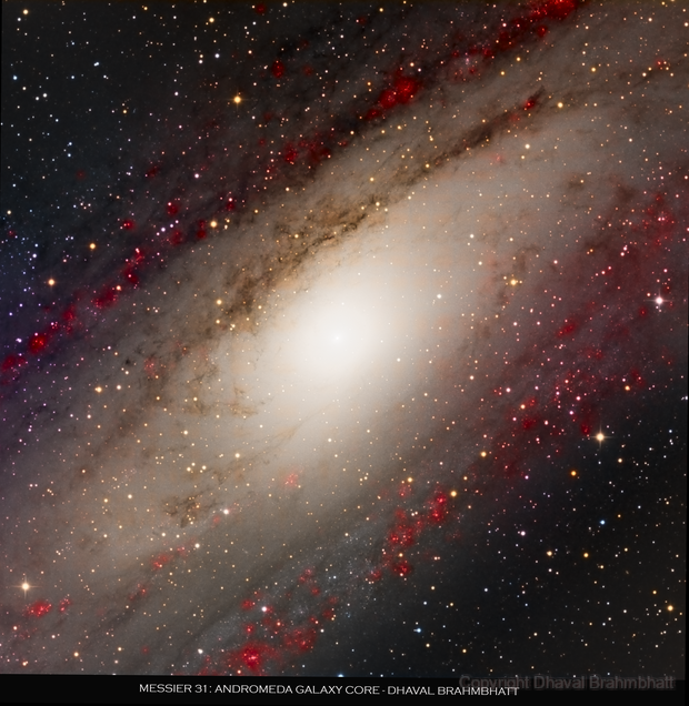 M31 - Andromeda Galaxy (Core) L+HaRGB,                                Dhaval Brahmbhatt
