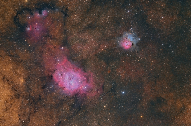 Colourful Trifid and Lagoon with IC1274,                                Christian van den Berge