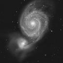 A M51 PixInsight attempt, a BW image,                                Niels V. Christensen