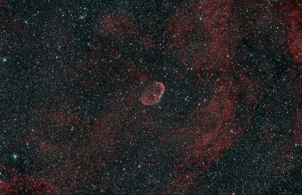 Crescent Nebula in HOO,                                JDJ