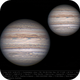 Jupiter 2 May 2018 - 9 min WinJ composite of drizzle and non-drizzle stacks - North up,                                Seb Lukas