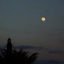 Moon + lighthouse of Maspalomas - Gran Canaria,                                AC1000