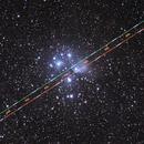 Airplane crossing Pleiades cluster,                                George.K