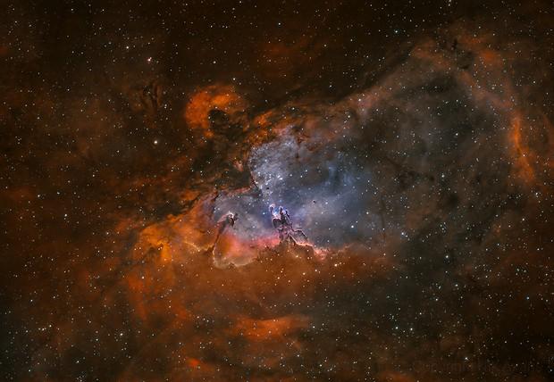 M16 Eagle Nebula in HOO bicolour,                                Nick Axaris