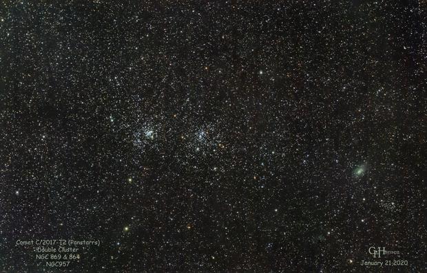 Comet C/2017-T2 (Panstarrs)  & Double Cluster,                                Gordon Hansen