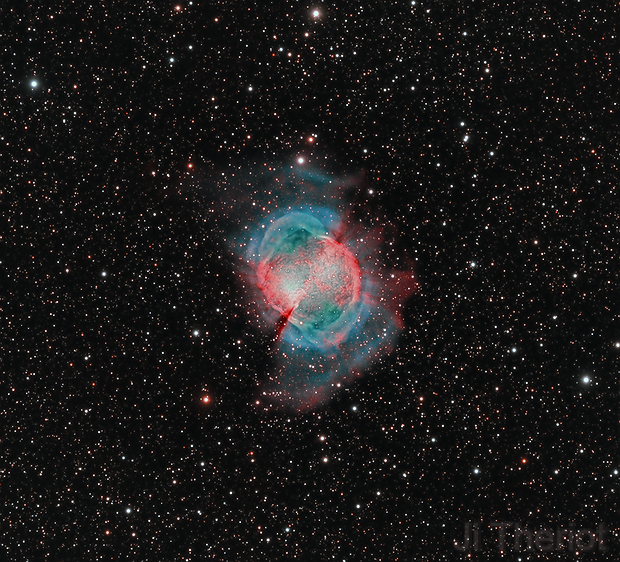 Close-up of M27, The Dumbbell Nebula, LRGBHOO, 40.6 hrs,                                riot1013