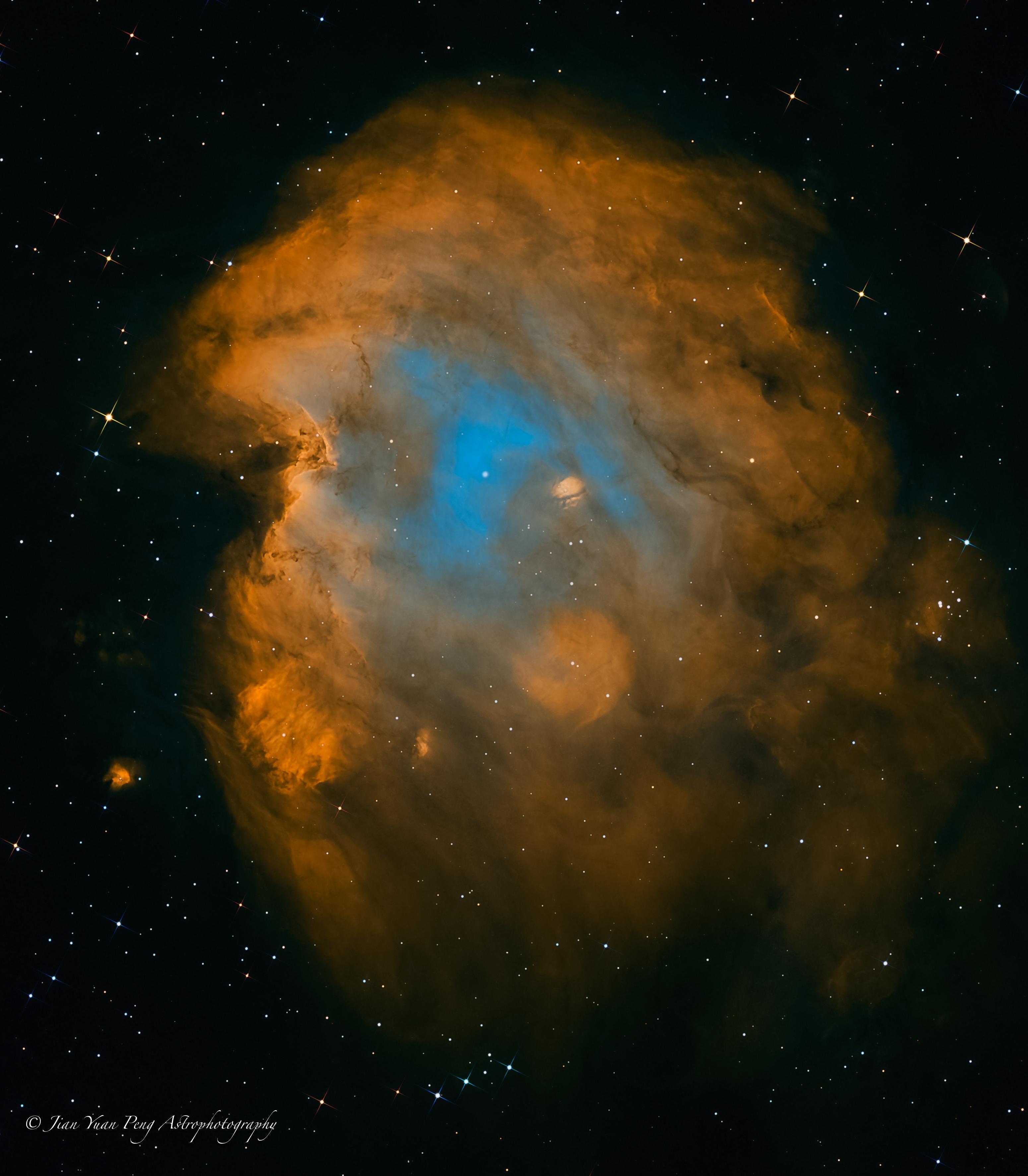 NGC2174 (Monkey Head Nebula) SHO + RGB stars,                                Jian Yuan Peng