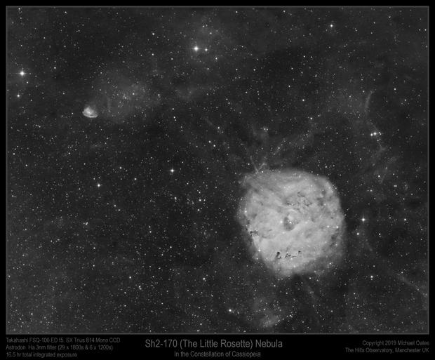 Sh2-170 (The Little Rosette) Nebula in Ha,                                Mike Oates