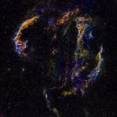 Cygnus Loop widefield mosaic (3x2) in HαSHO,                                Jose Carballada