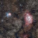 The Lagoon and Trifid Nebulae widefield,                                Jocelyn Podmilsak