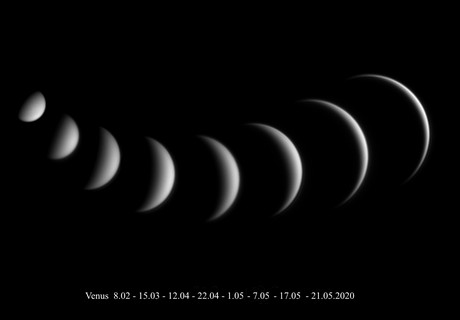 Variable Venus, i.e. the Evening Star phases - 2020,                                Loxley