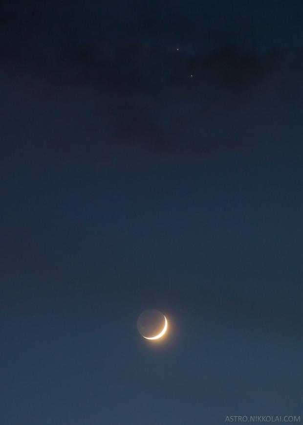 Crescent Moon with Saturn and Jupiter,                                Nikkolai Davenport