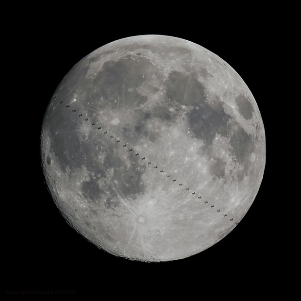 ISS transits the Full Moon,                                Johannes Schiehsl