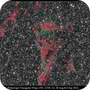 NGC 6974, 6979; Pickering's Triangular Wisp, OSC (UHC-S), 27 Aug, 6 Sep 2016,                                David Dearden
