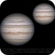 Jupiter 2 May 2018 - 9 min WinJ composite of drizzle and non-drizzle stacks - South up,                                Seb Lukas