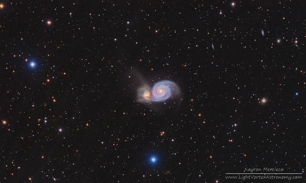 M51 Whirlpool Galaxy in L(R+HA)GB,                                Kayron Mercieca