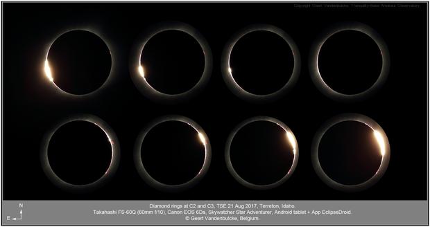 Diamond rings at C2 and C3, TSE 20170821,                                Geert Vandenbulcke