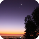the Moon, Venus and Jupiter as the Sun sets over Adelaide,                                P-K