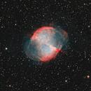 """M27 Nebula, a first light color image, exp. 300sec frame, org. rev. image. Filter: 2"""" Triad Ultra Quad-Band Narrowband Filter,                                Niels V. Christensen"""